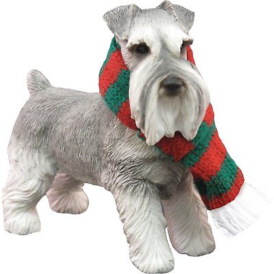 Sandicast Gray Schnauzer with Red and Green Scarf Christmas Ornament