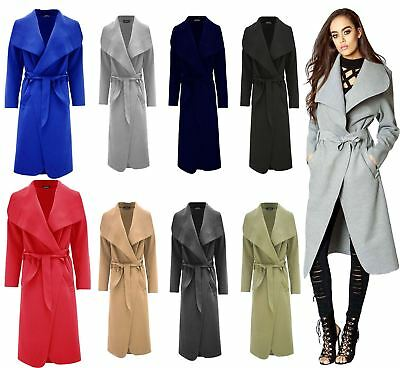 Ladies Plain Long Duster Coat Italian Women Waterfall French Belted Jacket Dress