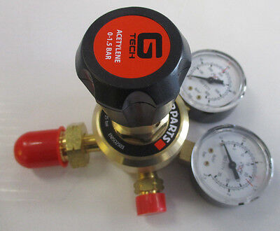 Starparts G Tech Single Stage Two / Twin Gauge Acetylene Regulator - 1.5 Bar
