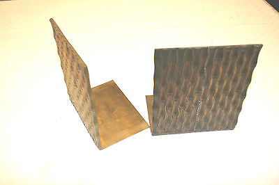 Vintage Oriental Bamboo Brass Bookends Mid Century FREE SHIPPING!