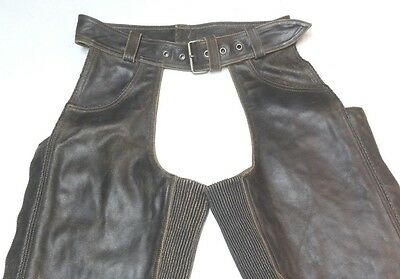 Harley Davidson Leather Chaps Factory Distressed Brown BILLINGS S TALL 32 Inseam