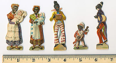 5 Rare Black Afro American 2 WOMEN 3 MUSICIANS Small Color Litho Die Cuts 19th C