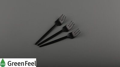 Fork &Knife BLACK SPORK Disposable Plastic Tiny Cutlery Deli Supplies Take Away