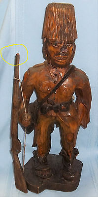 *1930 Hand Carved Wooden Folk Art Mountain Man/hillbilly Statue-Signed-Jewish?*
