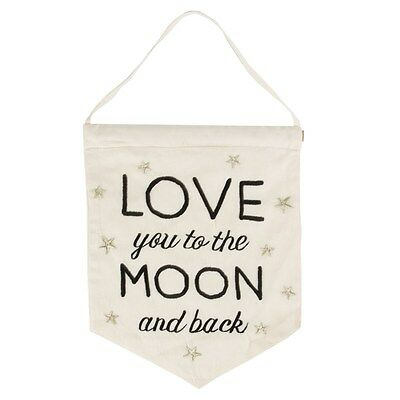 Sass & Belle Love You To The Moon & Back Banner Flag Nursery Baby Gift Bnwt
