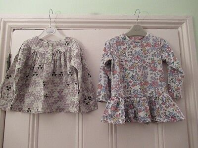 18-24m: 2 pretty tops: Floral tunic top + Green/purple blouse: M&S/ Obaibi