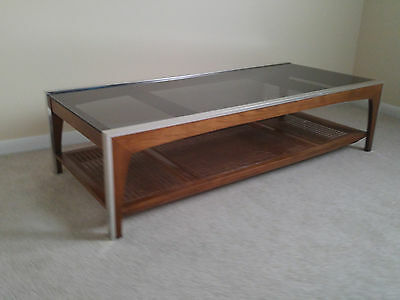 Mid Century Modern Chrome Walnut Coffee Table Smoked Gl