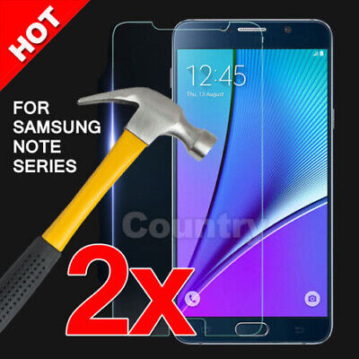 2x Premium Tempered Glass Film Screen Protector for Samsung Galaxy NOTE 2 3 4 5
