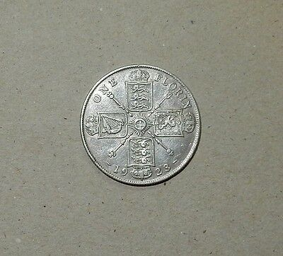 GREAT BRITAIN ONE FLORIN (TWO SHILLINGS) 1923 SILVER 0.500 11.31gr COIN - #147!