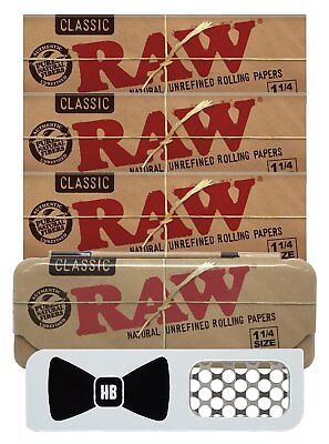 Hippie Butler Grinder Card , RAW Natural 1 1/4 Rolling Papers 3 Packs Case