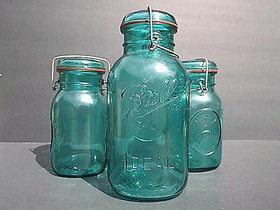 Set Of 3 Green Blue Ball Ideal Glass Jars Wire Seal Bicentennial Home Canning