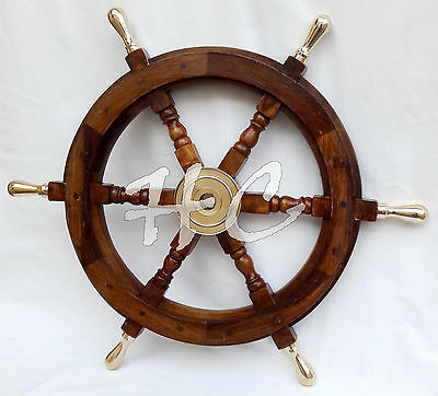 "Maritime Boat Ships Captains Nautical Beach Ship Wheel 18"" Wooden Steering Wheel"