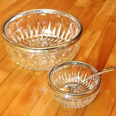 Vintage Chip and Dip Set Silver Rim Pressed Glass with Silver Plated Spoon Italy