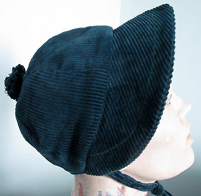 Vintage girls' corduroy hat/bonnet, probably 1950s