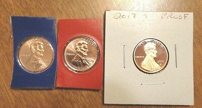 2017 P D S Lincoln Cent Penny Proof 3 Coin Set Lot Sealed US Mint Cello