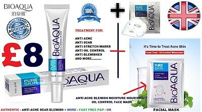 Bioaqua Pure Skin Anti Acne Scar Blemish Stretch Mark Removal Cream Plus Mask Uk