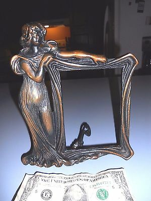 "True Antique American Art Nouveau Figural Woman Cast Picture Frame 3-1/2""x5"""