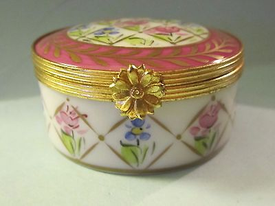 Vintage J Dumont LIMOGES FRANCE Peint a la Main Hinged Trinket Box