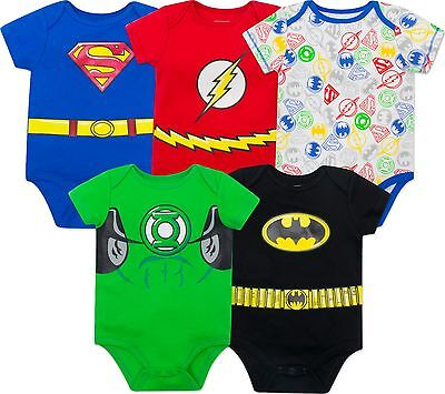 Justice League Baby Boys 5 Pk Bodysuits- Batman, Superman, Flash & Green Lantern