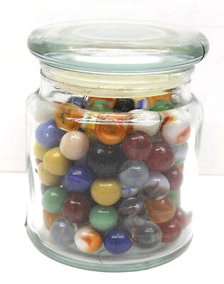 Jar Full of Old 1960's Marbles Unsorted Very Clean Beautiful Color Assortment