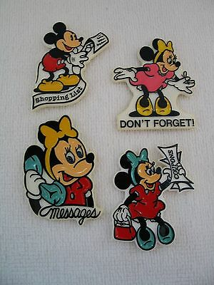 Vintage Walt Disney Productions Mickey Minnie Mouse Magnets - Set Lot of 4