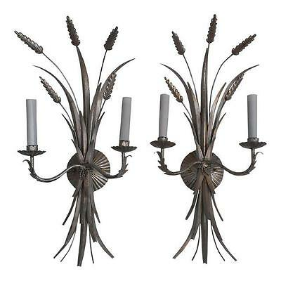 Vintage Hollywood Regency Italian Antique Silver Wheat Design Pair Wall Sconces