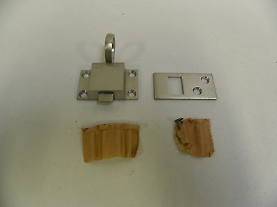 Vintage Brushed Chrome Cupboard Cabinet Lock Latch Clasp (T)