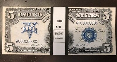 $100 In 1899 $5 Bills Prop/Play Money Silver Certificate Act. Size Indian Chief