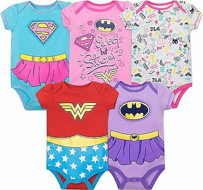 Justice League Baby Girls' 5 Pack Bodysuits- Wonder Woman, Batgirl and Supergirl