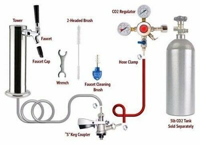 1 Tap Tower Stella Draft Beer Kegerator Conversion Kit - European Sankey S Kegs