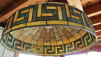Victorian Stained Glass Ceiling Dome W Greek Key
