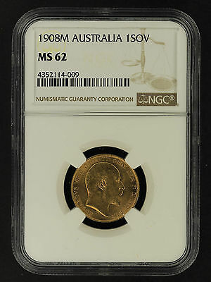 1908M Australia Gold Sovereign NGC MS-62 -162047