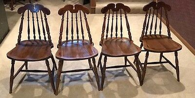 Four Vintage Oak Spindle Back Chairs - see all pics