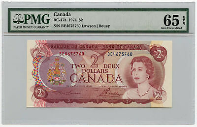 1974 Canada $2 Note BC-47a PMG Gem Uncirculated 65 EPQ
