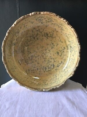 Lovely Antiques Late 1800's Yellow Ware Spongeware Scalloped Bowl