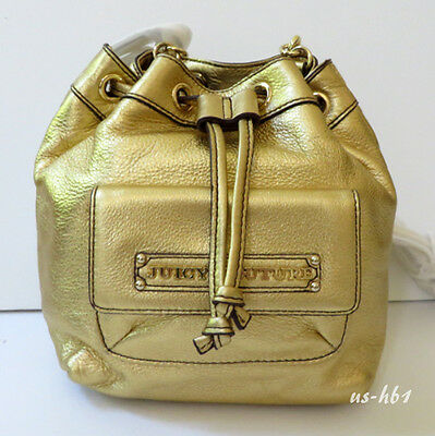 Authentic New Juicy Couture Robertson Leather Backpack Bag in Gold