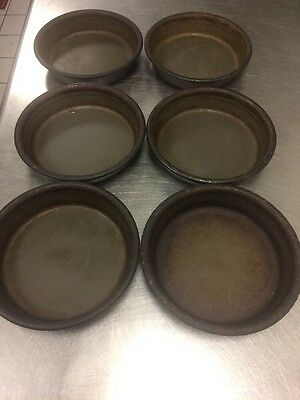 "6 Pizza Hut Deep Dish Pizza Pans 6"" Personal Pan Pizza Size Seasoned"