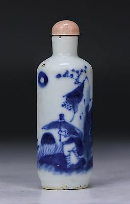 A Chinese Antique Blue & White Porcelain Snuff Bottle, Qing Dynasty
