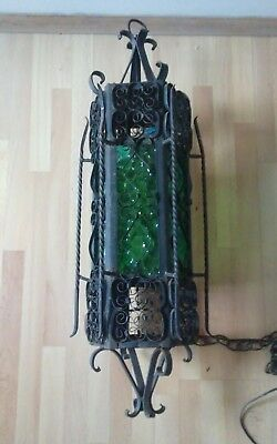 Vintage Spanish Gothic Wrought Iron Swag Ceiling Lamp Light Green Stained Glass