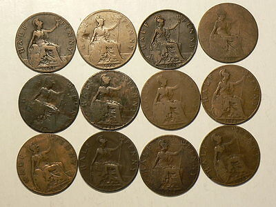 Great Britain, Lot Of 12, Half 1/2 Penny Coins 1902 to 1918  #G6702