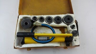 Pneumatic 10 Ton Air Hydraulic Knockout Punch Drive Hole Set Metal Case S#26-4