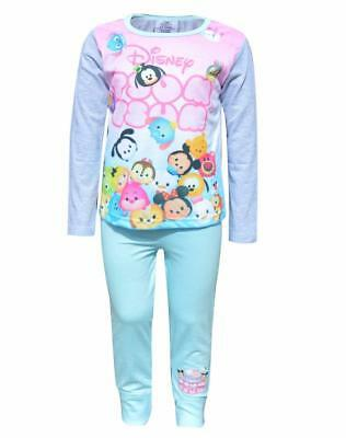 Girls Official Disney Tsum Tsum Snug Fit Pyjamas Mickey Eeyore Pjs Age 4-10 Year