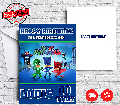 PJ Masks Personalised Birthday Card - SON, BROTHER, SISTER ETC