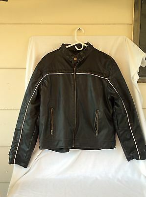 Whispering Smith Mens Black Faux Leather Cafe Racer Jacket Size M/m Mtrcycle