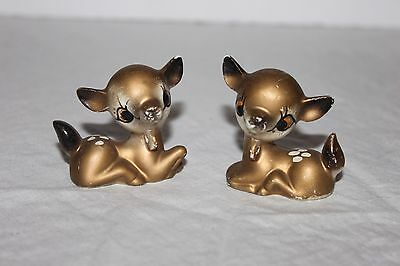 Cute VINTAGE Pair of Small Gold Deer/Fawn  Figurines