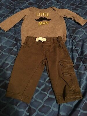 Carter's & Circo Baby Boy 2 Piece Outfit Babysuit & Pants 0-3 Months Preowned
