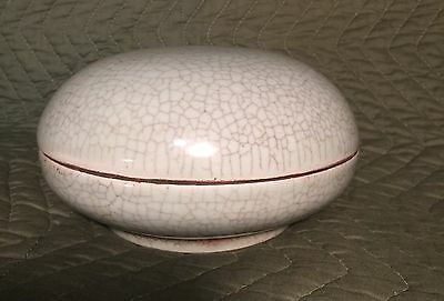 Antique Chinese Porcelain Pottery Caddy / Box Lidded Crackle Glaze Kiln Grit