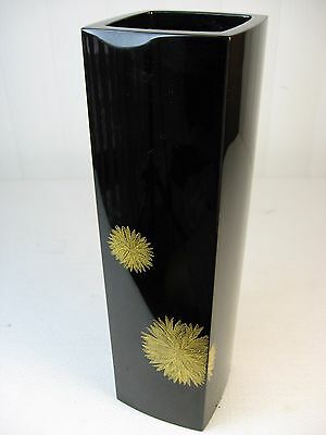 Japanese Wooden Gold Flower Square Lacquer FLOWER VASE, Signed