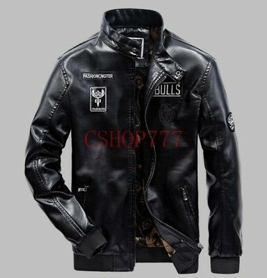 New Mens Fashion PU Leather Motorcycle Jacket Stand Collar Warm Slim Fit Coats