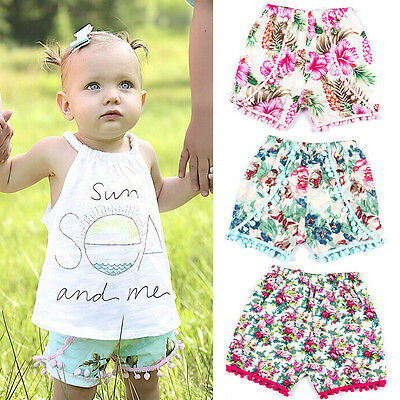Summer Floral Kids Baby Girls Shorts Pants Hot Leisure Bottoms Outfit Clothes